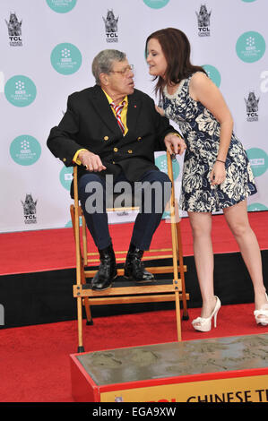 LOS ANGELES, CA - APRIL 12, 2014: Actor Jerry Lewis & daughter Danielle Sarah Lewis in the forecourt of the TCL - Stock Photo