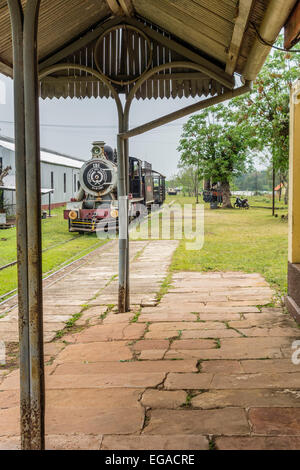 Old 19th century steam locomotives at the railroad museum in Sapucay, Paraguay, South America. - Stock Photo