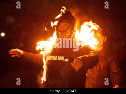 Squamish Councillor Peter Kent is set on fire at the Squamish logger sports grounds.  He was performing the stunt - Stock Photo