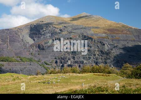 Slate quarry, Llanberis, Snowdonia National Park, Gwynedd, Wales, United Kingdom, Europe - Stock Photo