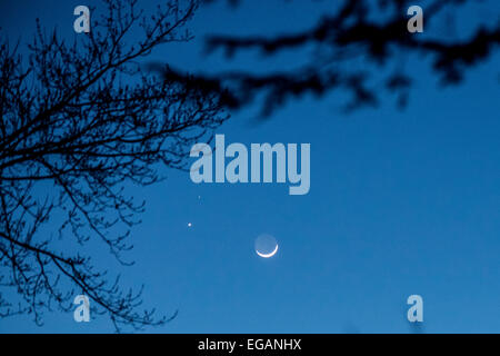 USA. 20th February, 2015. The crescent moon tonight with earth-shine, Mars (Top), Venus (Bottom).  Just after dusk, - Stock Photo