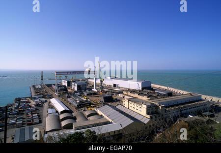 italy, le marche, ancona, fincantieri shipyard - Stock Photo