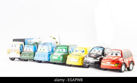 Several law enforcement small cars. Italian Police, Fireman, Ranger, Scuolabus - Stock Photo