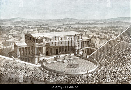 Reconstruction of the Theatre of Dionysus in ancient Athens, Greece, - Stock Photo