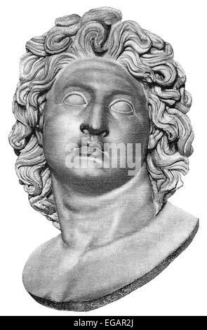 Alexander the Great or Alexander III of Macedon, 356-323 BC, king of Macedon and hegemon of the Corinthian League - Stock Photo