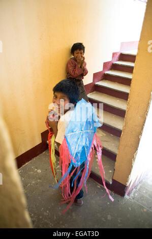 Mayan indigenous children in San Antonio Palopo, Guatemala. - Stock Photo