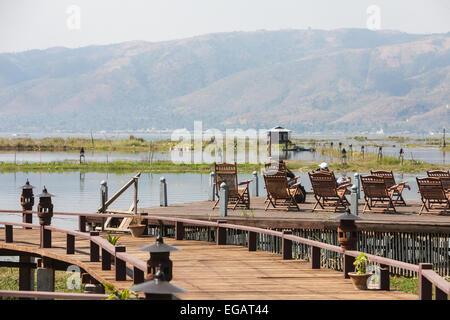 Inle Resort and Spa Hotel in Nyaungshwe region.Luxury accommodation on the banks of Inle Lake, Burma,Myanmar. - Stock Photo