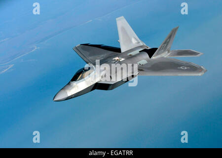 A US Air Force F-22 Raptor stealth fighter aircraft during exercise Sentry Savannah February 20, 2015 in Savannah, - Stock Photo