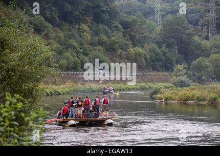 Floats, pleasure, party cruise on river Ruhr, near Hattingen, Germany - Stock Photo