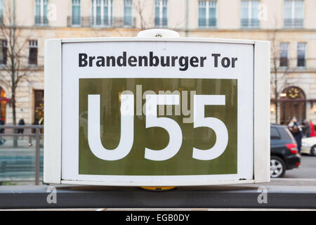 [Editorial Use Only] Underground sign of the U55 U-Bahn line at station Brandenburger Tor in Berlin, Germany - Stock Photo