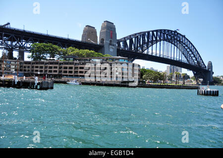 Sydney Harbour Bridge at Sydney on January 24, 2015 in New South Wales, Australia. - Stock Photo