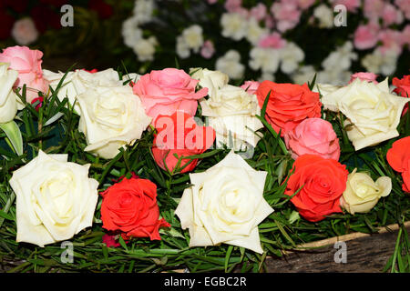 Different color Rose flowers Decoration at Kerala India - Stock Photo
