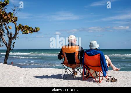 Florida, Stuart, Hutchinson Barrier Island, Bathtub Reef Beach, senior seniors old citizen citizens pensioner pensioners - Stock Photo