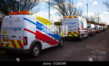 National Grid vans in a row at Blackpool, Lancashire, UK 21st February, 2015. National Grid Gas Incident Emergency - Stock Photo