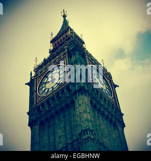 closeup of the Big Ben in London, United Kingdom, with a retro effect - Stock Photo
