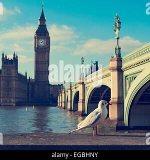 a view of the Big Ben, the River Thames and the Westminster Bridge, with a filter effect - Stock Photo