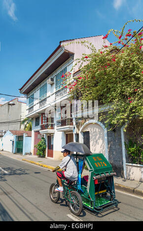 colonial house in intramuros historic old town street of manila philippines - Stock Photo