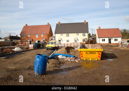Building site new houses being constructed in the village of Sutton, Suffolk, England, UK - Stock Photo