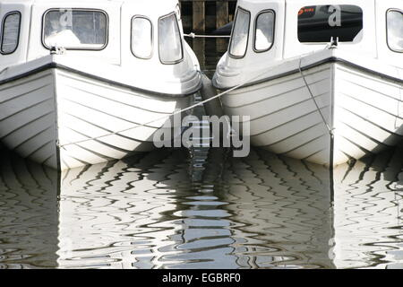 Boats on Coniston Water in Cumbria, England - Stock Photo