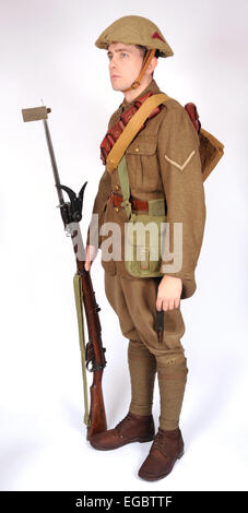 A Great War uniform as worn by British soldiers fighting in the trenches 1914-1918. Dismounted cavalryman - Stock Photo