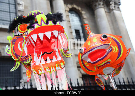 London, UK. 22nd February 2015. Chinese New Year Parade 2015, London for the year of the goat or sheep. Credit: - Stock Photo