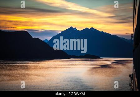 Sunset in the Taiya Inlet, Alaska, USA, North America. - Stock Photo
