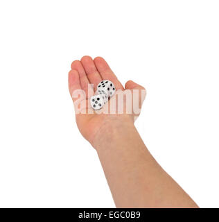 Dice in hand on a white background isolated - Stock Photo