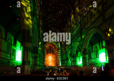 Melbourne, Australia - February 21 - St Paul's Cathedral during White Night on February 21st 2015. - Stock Photo