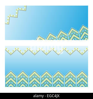 Set of Ethnic ornament patterns. The simple design of the advertising brochures, business cards. Vector illustration. - Stock Photo