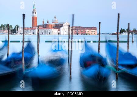 Gondolas and San Giorgio Maggiore Church, Venice, Italy - Stock Photo