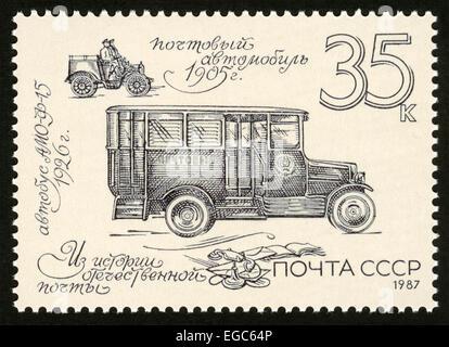 USSR,post mark,stamp,1987 year,postal car - Stock Photo