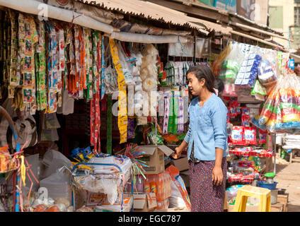 A young Burmese woman shopping at the local village market, Mani Sithu market, Nyaung U village, Bagan Myanmar ( - Stock Photo
