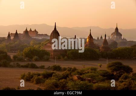 Temples in Bagan at sunset, Burmese landscape, Burma ( Myanmar ), Asia - Stock Photo