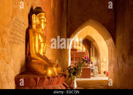 Worshipping golden Buddha statues, Sulamani Pagoda, Bagan, Myanmar ( Burma ), Asia - Stock Photo