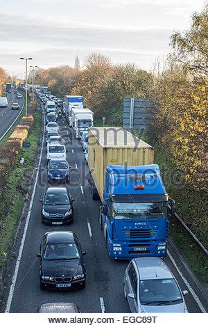 Traffic jam on dual carriageway, Oxford, UK - Stock Photo