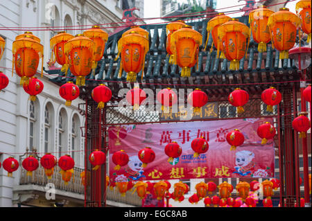 Lanterns in China town London fror new year celebrations. - Stock Photo