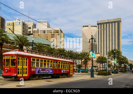 Tramway on Canal street in New Orleans, LA - Stock Photo
