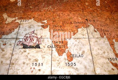 Navigation Route of Vasco Da Gama to India - Stock Photo