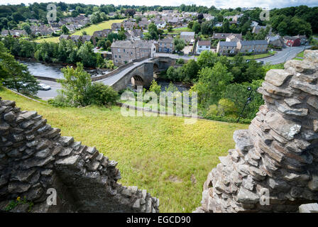 A view across the river Tees from the walls of Barnard Castle - Stock Photo