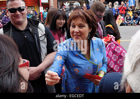 Vancouver, Canada. 22nd February, 2015. British Columbia Premier Christy Clark greets members of the crowd attending - Stock Photo