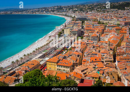 Promenade des Anglais from above Nice, France - Stock Photo