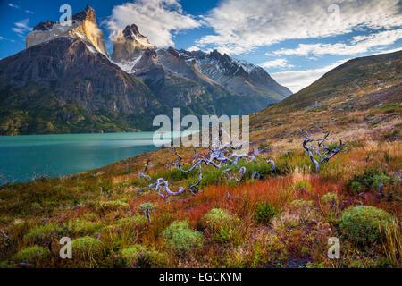 Los Cuernos towering above Lago Nordenskjold, Torres del Paine, Chilean Patagonia - Stock Photo