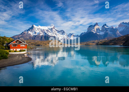Torres del Paine National Park encompasses mountains, glaciers, lakes, and rivers in southern Chilean Patagonia - Stock Photo