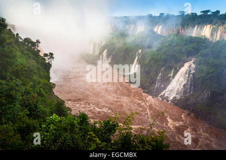Iguazu Falls are waterfalls of the Iguazu River on the border of Argentina and Brazil - Stock Photo