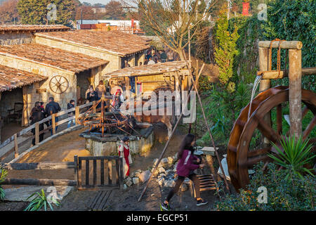 Priscos, Portugal. Largest living Nativity Scene in Europe. View of part of the reenactment structures. See More - Stock Photo