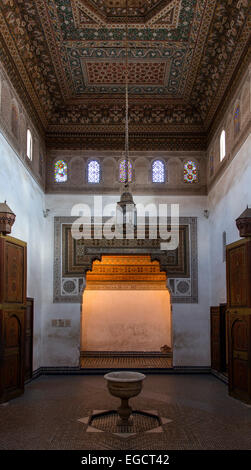 Bahia Palace, Palais de la Bahia, interior view, Medina, Marrakech, Morocco - Stock Photo