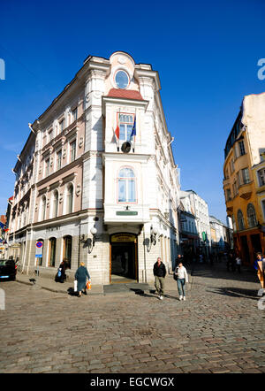 Elaborate corner building in the old town of Tallinn, Estonia - Stock Photo