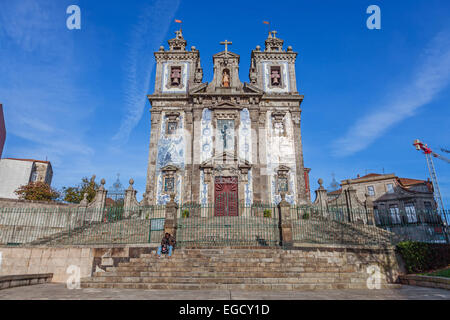 Santo Ildefonso Church in the city of Porto, Portugal. 18th century Baroque architecture, covered with Portuguese - Stock Photo
