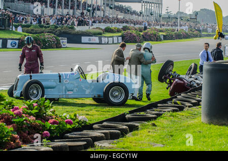 The unique Reg Parnell MG K3 1.1 litre supercharged 6 cylinder, built in 1936, having crashed at Goodwood with overturned - Stock Photo