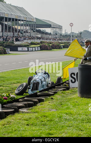 The unique Reg Parnell MG K3 1.1 litre supercharged 6 cylinder, built in 1936, having crashed at Goodwood with an - Stock Photo